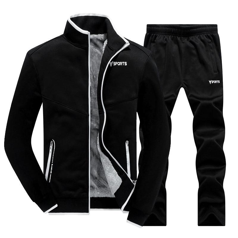 Degli uomini Sportwear Imposta Caldo WinterTracksuit Moda Maschile Addensare Set 2 pz Giacca + Pantaloni Del Collare Del Basamento del Cappotto di Qualità Superiore tuta
