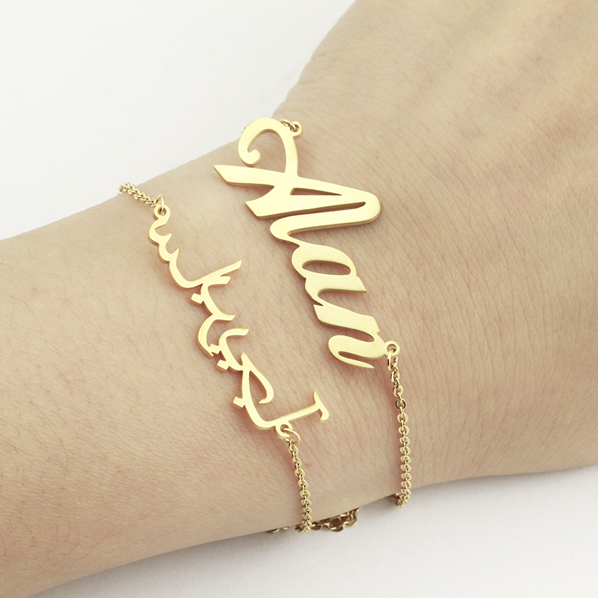 Personalized Custom Best Friend Gifts Name Charms Bracelets For Women Girl Party Jewelry Stainless Steel Gold Filled Chain Bff