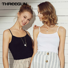 THREEGUN 2pcs/pack Summer Women Undershirt Cotton Camisola Tanks Sexy Ladies Vest Solid Breathable Shoulder Singlet Slim Fit(China)