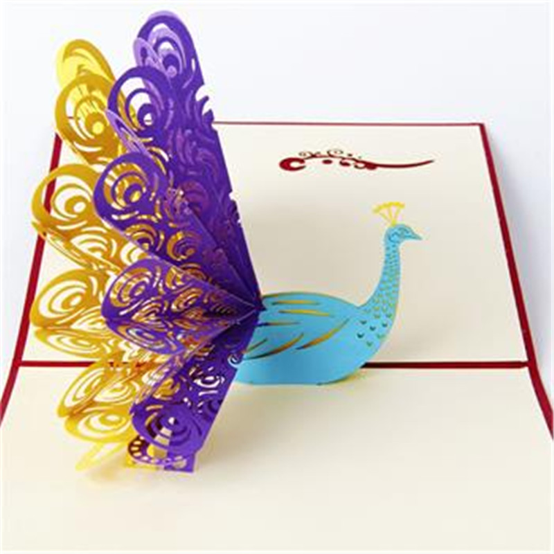 3d pop up greeting card peacock birthday easter anniversary mother