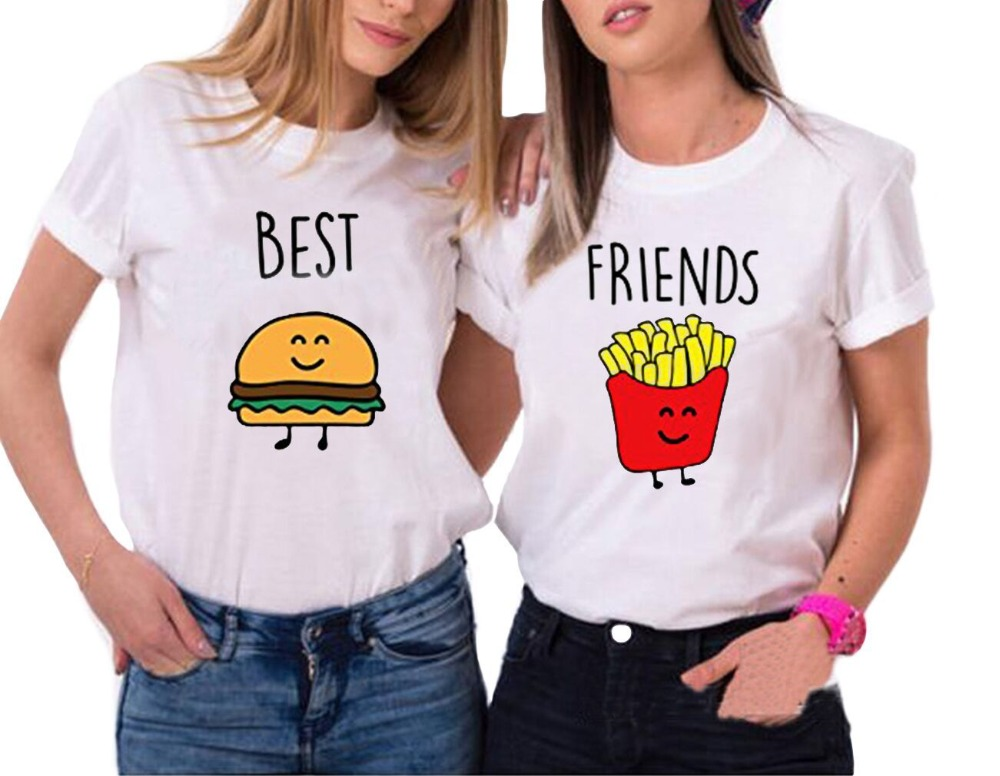 Heiße Neue 2018 Sommer Frauen Damen Casual O Hals hamburger Chips drucken Lustige T-shirts Tops Beste Freunde Weißen T-shirt Femme