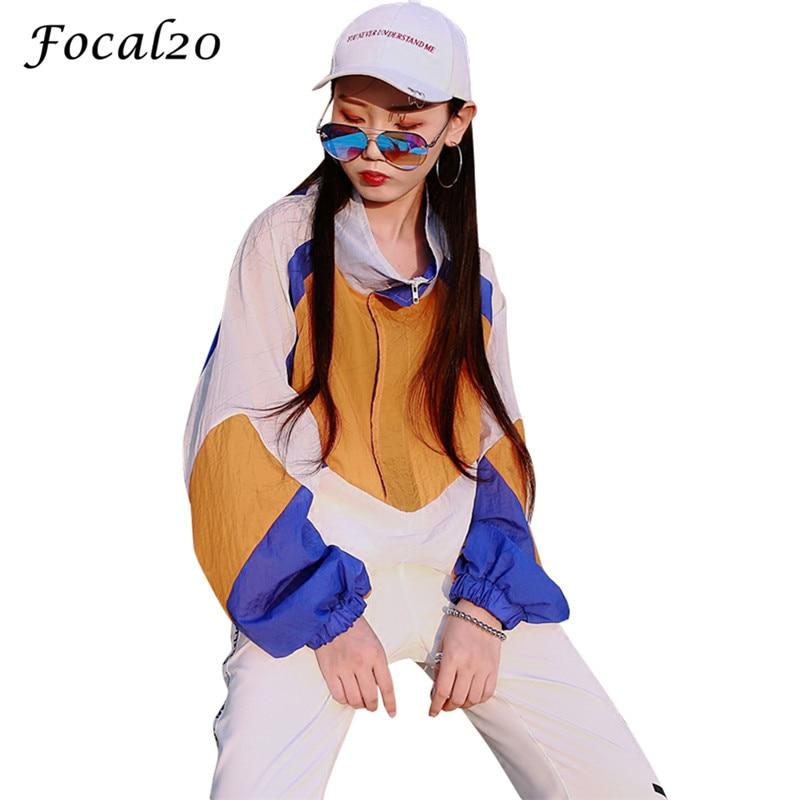 Focal20 Streetwear Hit Color Patchwork Women Jacket Pockets Color Block Zipper Turtleneck Jacket Thin Coat Outwear