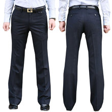 New Modis Flared pants Male Summer Straight Navy blue Suit British leisure Free hot feet trousers Formal For Men
