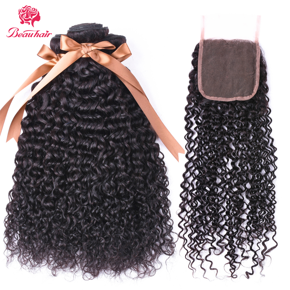 BEAUHAIR Afro Kinky Curly Weave Human Hair Bundles with Lace Closure Non-remy Malaysian Hair Weave 3 Bundles with Closure 4*4