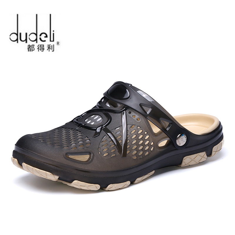 DUDELI 2018 New Summer Jelly Shoes Men Beach Sandals Hollow Slippers Men Flip Flops Light Sandalias Outdoor Summer Chanclas