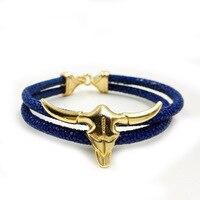 Hot Sell Stingray Skin Bracelet Hand Made Gold Bull S Head Buckle Two Roll Genuine Stingray