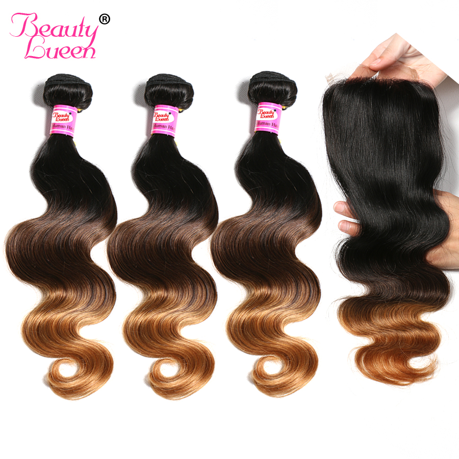 Malaysian Body Wave Bundles With Closure 1b 4 30 Ombre Human Hair 3 Bundles With Closure