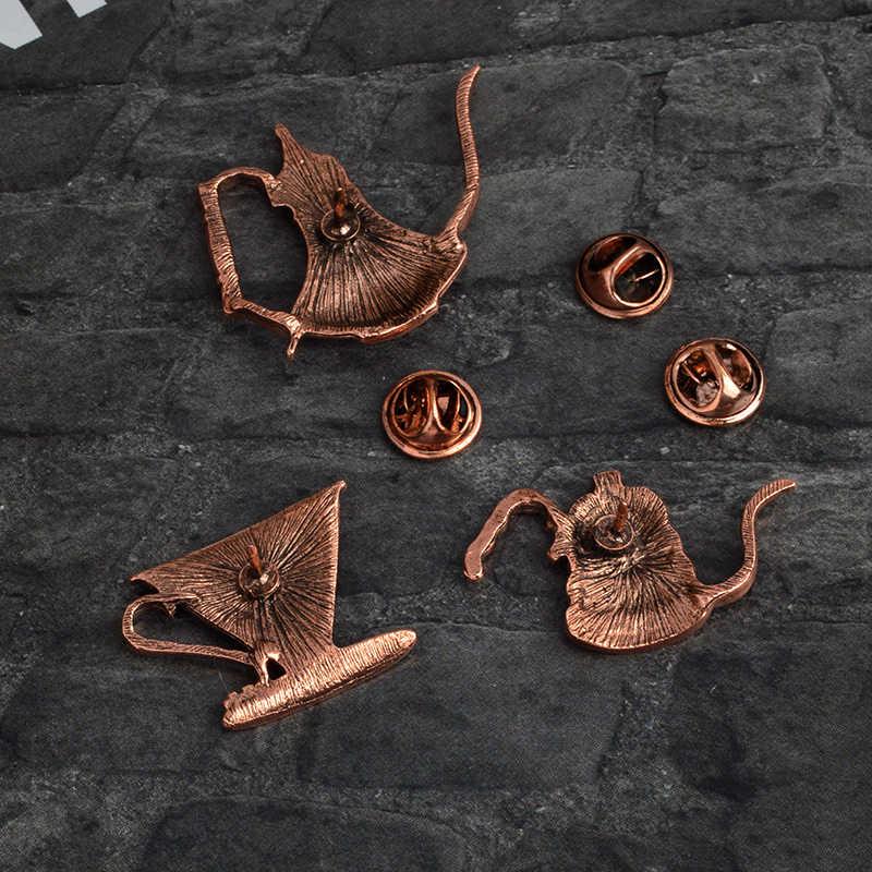 Nona Zoe Vintage Pin Kopi Pot Piala Latte Art Filter Bros Retro Denim Jaket Pin Kemeja Lencana Hadiah untuk Kopi penggemar