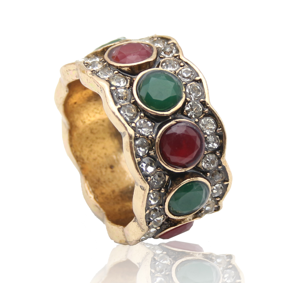 Fashion Double Color Crystal Antique Turkish Rings Wave Line Retro Gold Plate Ring Rome Court