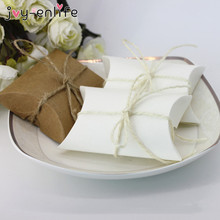 JOY-ENLIFE 50pcs/lot Cute Kraft Paper Pillow Shape Candy Box Baby Shower Decor Wedding Party Favour Supplies Gift Box Bags(China)
