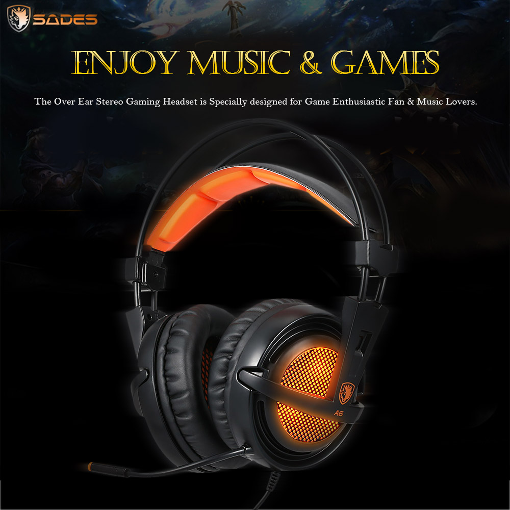 SADES A6 USB 7.1 Stereo wired gaming headphones game headset over ear with mic Voice control for laptop computer gamer 10