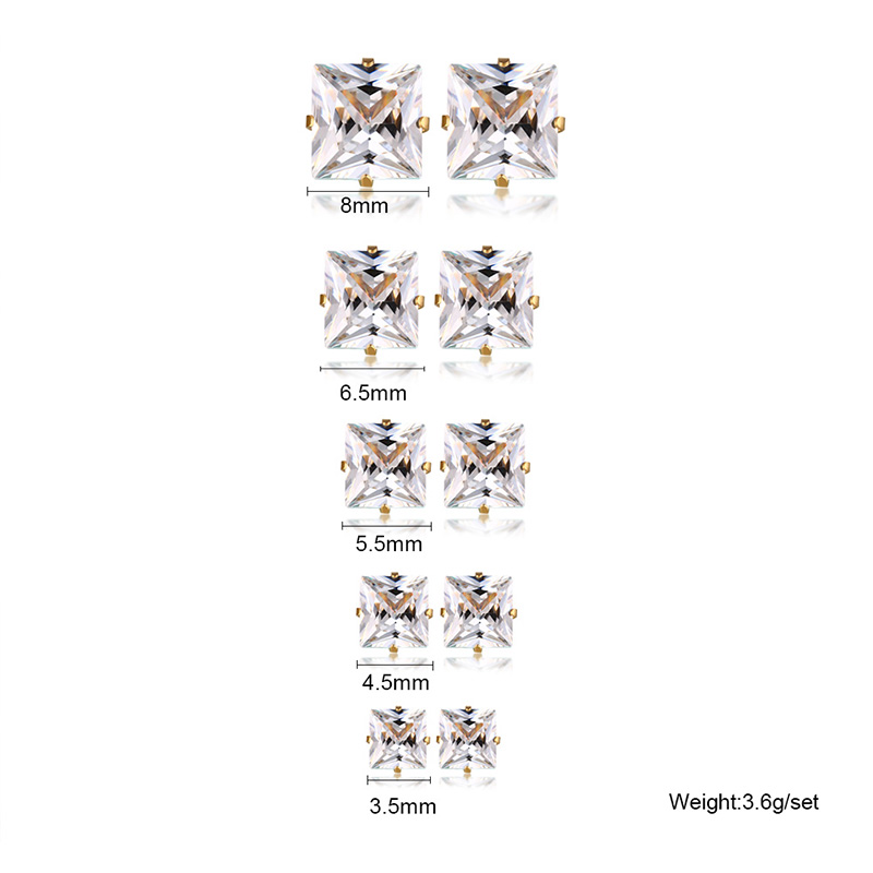 5 pair set Round Clear Cubic Zirconia Stainless Steel Stud Earring Pierced 3.5mm-8mm Fashion Mens Womens