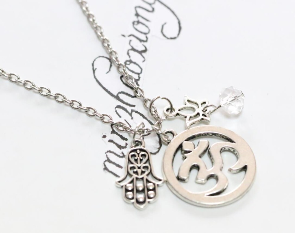 18 Necklace With Meditation Om Symbol Lotus Flower And Hamsa Hand