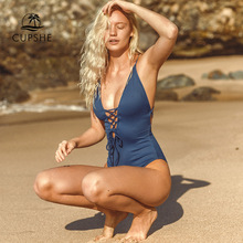 CUPSHE Remind Me Solid One piece Swimsuit Women Backless Deep V neck Lace Up Sexy Bodysuits 2020 Beach Bathing Suit Swimwear