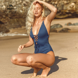 Image 1 - CUPSHE Remind Me Solid One piece Swimsuit Women Backless Deep V neck Lace Up Sexy Bodysuits 2020 Beach Bathing Suit Swimwear