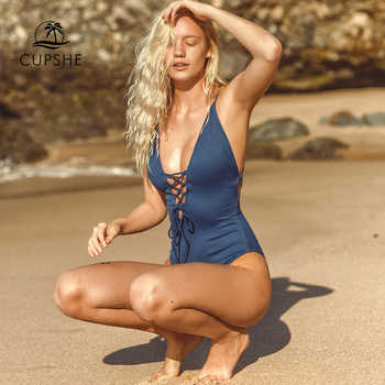 CUPSHE Remind Me Solid One-piece Swimsuit Women Backless Deep V neck Lace Up Sexy Bodysuits 2019 Beach Bathing Suit Swimwear - DISCOUNT ITEM  12% OFF All Category