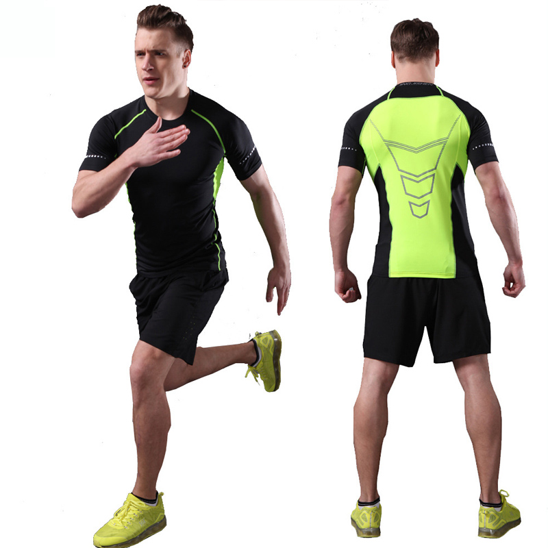 2 Pieces Mens Sports Suits Running Clothes for Men Sport Short +Compression Tights T-shirt Gym Fitness Cropped Quick Dry Sets