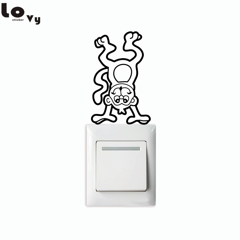 Creative Monkey Light Swicth Sticker Funny Cartoon Animal Vinyl Wall Sticker for Kids Room Bedroom Home Decor