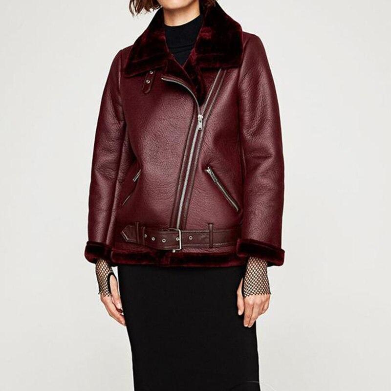 FTLZZ 2020 nouveau hiver femmes en peau de mouton manteaux épaissir Faux cuir fourrure femme manteau fourrure doublure en cuir veste aviateur veste - 3
