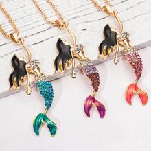 Cute Female Pendant Necklaces Bright Glass Stone Rhinestone Choker Mermaid Pendants Birthday Gift For Girls Costume Accessory y1