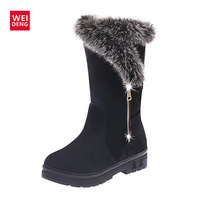 WeiDeng Snow Boots Suede Winter Fur Bling Shoes Plush Warm Ladies Winter Ankle Waterproof Zipper High