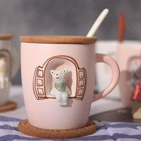 Hot Sale 3D Hand Painted Animal Mugs Creative Cat Ceramics Cups Coffee Milk Tea Mug Kids Breakfast Cup Couple Friend Gift