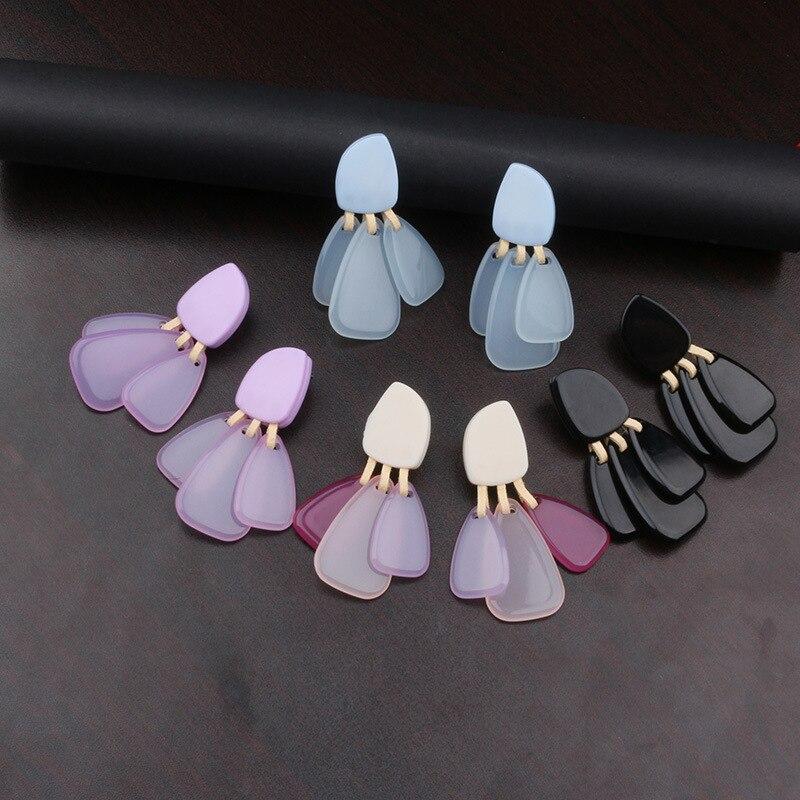 2019 3 Farbe Harz Platten Drop Ohrringe Schöne Acryl Anhänger Baumeln Ohrringe Nette Party Ohrringe Mode Schmuck Geschenk Für Mädchen