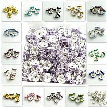 Cuentas espaciadoras de cristal checas DIY de 6mm de resina con diamantes de imitación plateados de 100 Uds al por mayor
