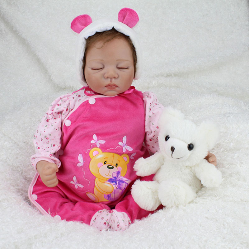 22 Soft Silicone Newborn Baby Doll Alive Handmade Vinyl Baby Girls Dolls Lifelike Sleep Reborn Dolls for Kids Birthday Gifts