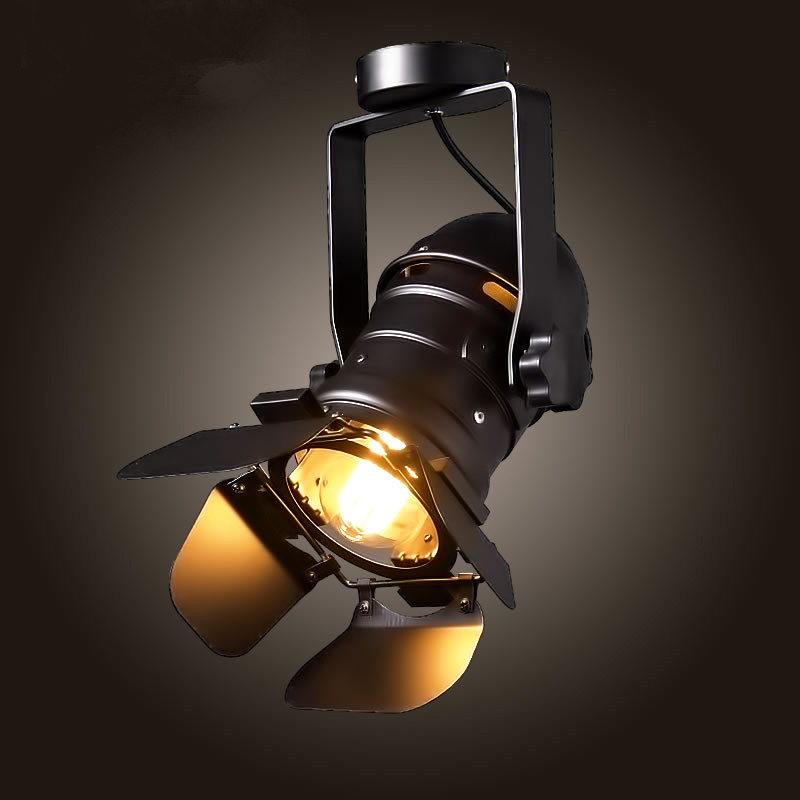 Industrial Retro personality Black Ceiling Lamps E27 Track Light Fixtures Absorb Dome Light  for  kitchen bar clothing store led track light50wled exhibition hall cob track light to shoot the light clothing store to shoot the light window