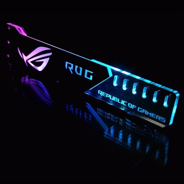 กราฟิกการ์ดวงเล็บVGAสนับสนุนกรอบGPUผู้ถือROG 12V 4PIN RGB/5V 3PIN ARGB ASUS AURA SYNCอลูมิเนียม + อะคริลิคใหม่มาถึง