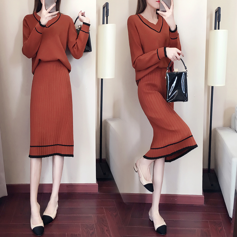 Autumn Winter Knitted Two Piece Sets Outfits Women V-neck Sweater And Skirt Suits Tracksuits Elegant Casual Fashion 2 Piece Sets 55