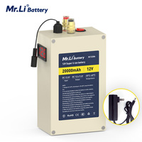 Mr.Li 12V 20Ah Lithium Battery 18650 Battery Pack Build in BMS Protection For Outdoor Power Supply Home Appliance + 2A Charger