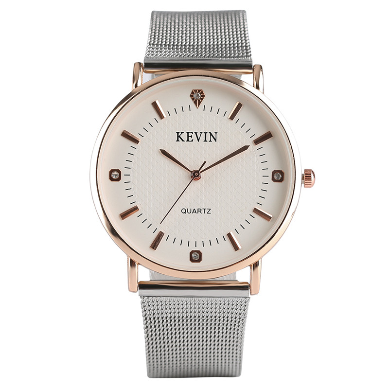KEVIN Simple Fashion Women Quartz Wristwatch Crystal Design Stainless Steel/Leather Watchband Casual Watches Best Gift Female