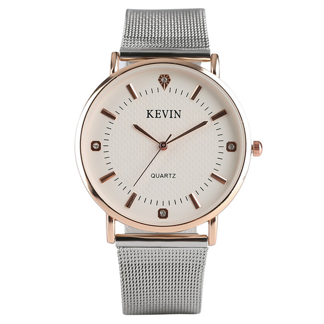 KEVIN Simple Fashion Women Quartz Wristwatch Crystal Design Stainless Steel/Leat