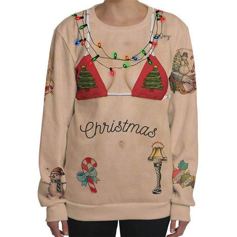 Weihnachten t hemd Frauen Plus Größe t-shirt Langarm 3D Druck T-shirt Sweatshirt Tops Pullover Bieten Dropshipping # FS18