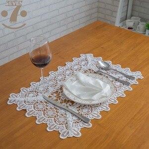 Бесплатная доставка 1 лот/3 шт элегантные белые цвета пасторальный Стиль выдалбливают Вышивка салфетки для дома/журнальный столик