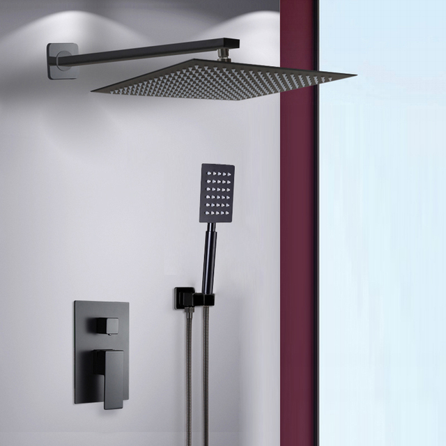 BAKALA Black Stainless Steel Square Black Shower Set Bathroom Rain Shower  Head Faucet Shower Mixer Handheld