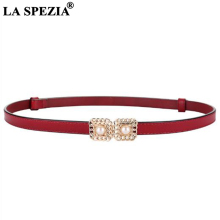 LA SPEZIA Double Buckle Leather Belt Women Thin Genuine Cow Belts Female Brand Pearl Real Ladies Narrow