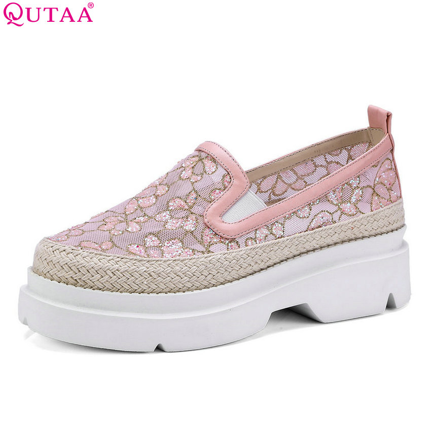 QUTAA 2018 Women Pumps Platform Fashion Synthetic Women Shoes Slip on Casual Round Toe Wedges Heel Westrn Style Shoes Size 34-40 lin king casual women platform pumps wedges leather high heel shoes vintage solid slip on gladiator shoes lady round toe shoes