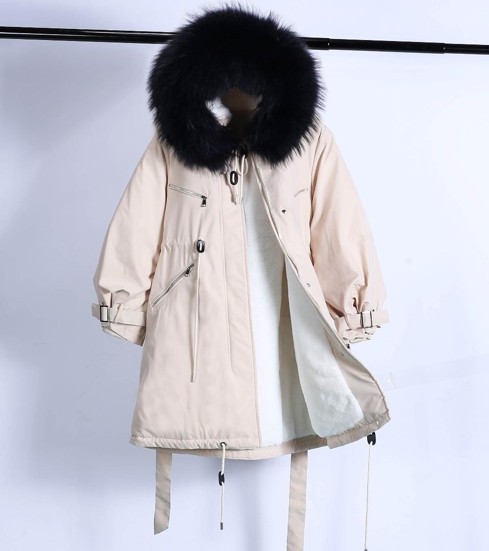 Large Natural Raccoon Fur Winter Jacket Women Hooded 19 Long Parkas For Female Thick Slim Down Winter Coat Women Waterproof 45