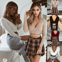 Off Shoulder V Neck White Sweaters Women 2018 Autumn winter New Backless Bow Lantern Sleeve Sexy Slim Crop Tops Solid Streetwear