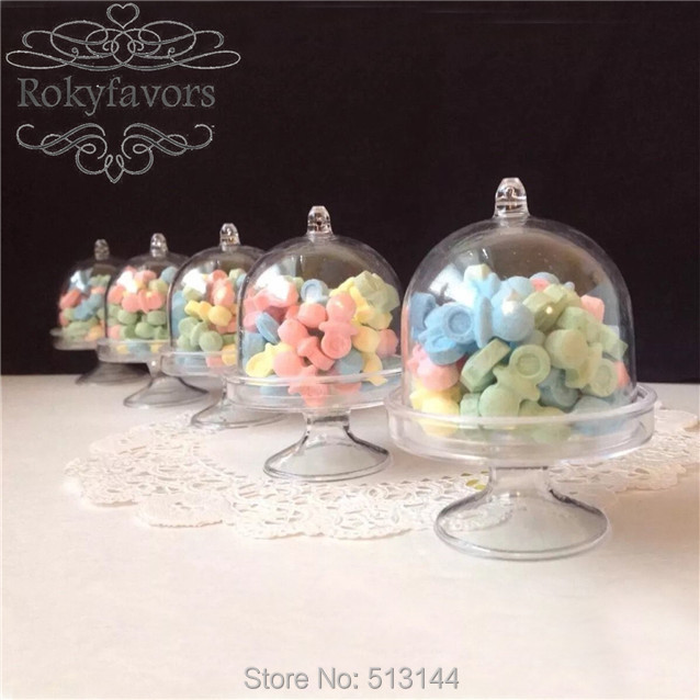 Us 23 9 Free Shipping 20pcs Candy Boxes Tray Stand Favors Holders Great Party Decoration Gifts Mini Cake Stand Baby Shower In Gift Bags Wrapping