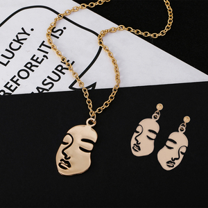 Girls Multipl Face Jewelry Sets Retro Metal Alloy Fashion Abstract Hollow Out Dangle Earrings Pendant Necklace Women(China)