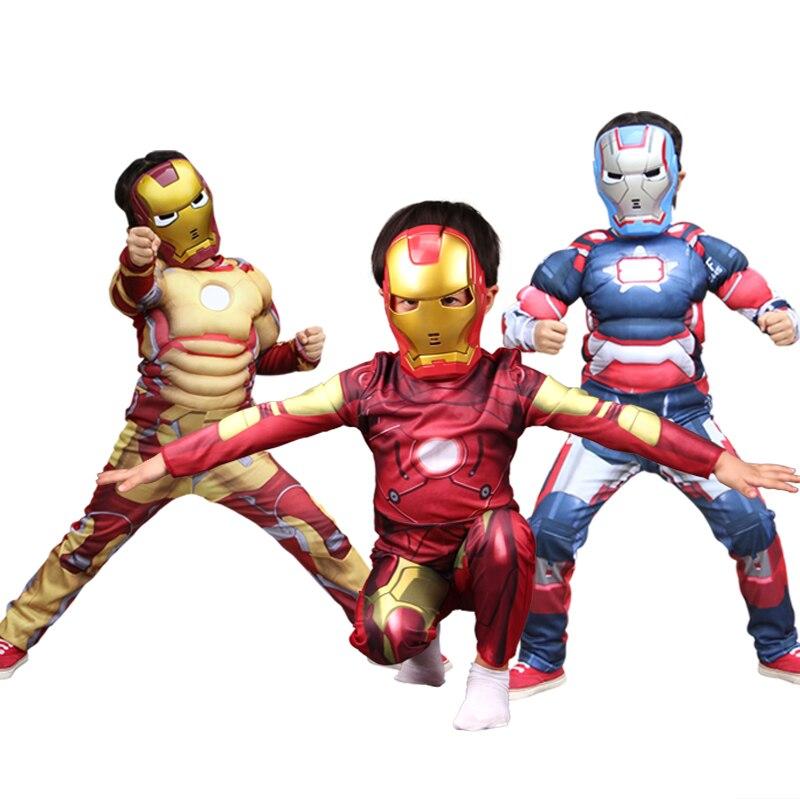 NoEnName Free shippingKids Avengers Iron Man Mark Patriot Muscle Child Party Costume Marvel Movie Superhero Cosplay Superhero