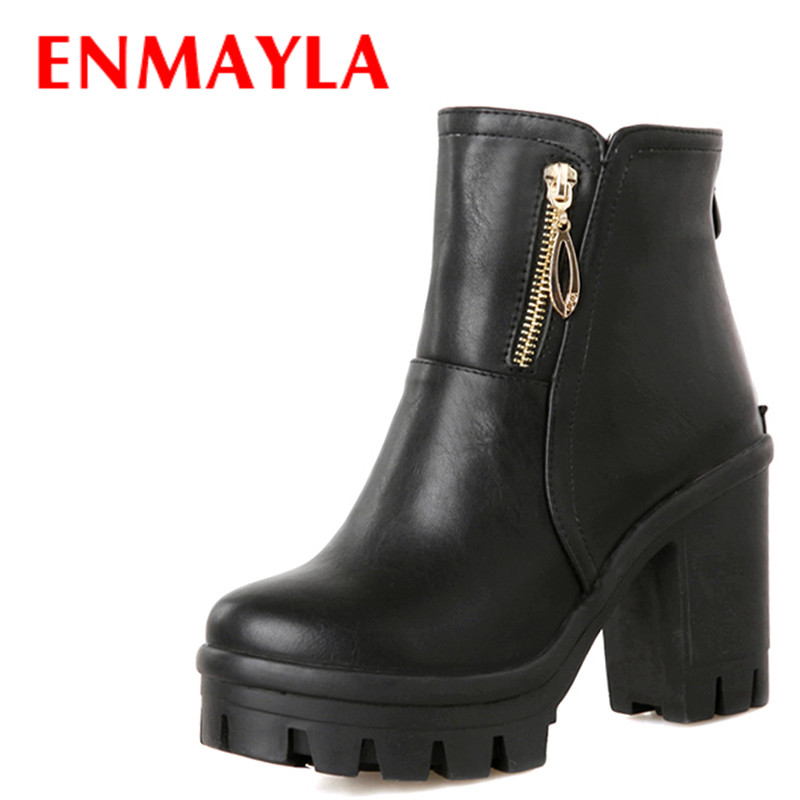 ENMAYLA Womens High Heels Platform Ankle Boots for Women Chunky Heels Round Toe Shoes Woman Black White enmayla ankle boots for women low heels autumn and winter boots shoes woman large size 34 43 round toe motorcycle boots