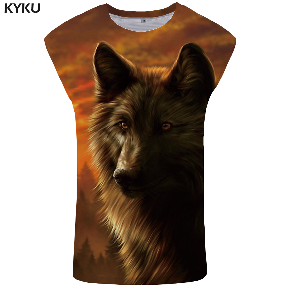 KYKU Wolf   Tank     Top   Men Flame Singlet Forest Vest Animal Clothing Harajuku Undershirt Ftness Stringer Sleeveless muscle Shirt