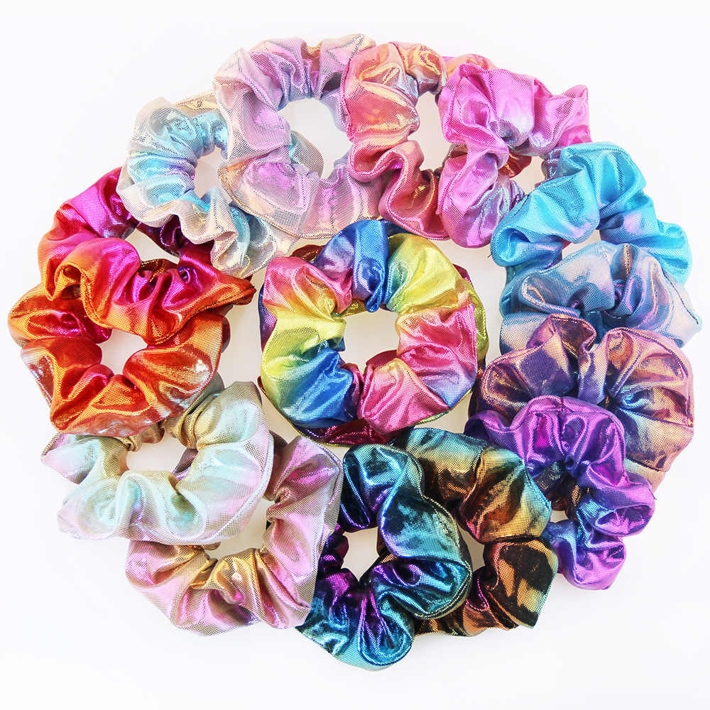 New Fashion Metal rainbow fabric two-color large Elastic Hair Bands  Sweet Simple Sports Dance Scrunchie Girls Hair Accessories