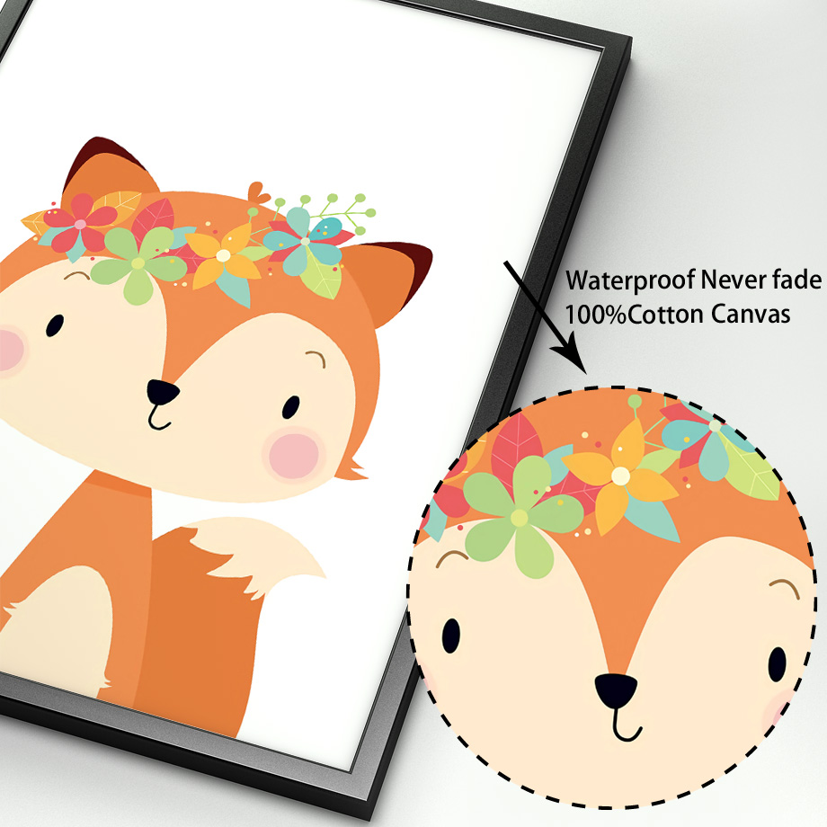 Image 4 - Cute Rabbit Fox Bear Deer Raccoon Nursery Nordic Posters And Prints Wall Art Canvas Painting Wall Pictures Baby Kids Room Decor-in Painting & Calligraphy from Home & Garden