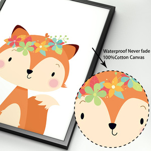 Image 4 - Sevimli tavşan tilki ayı geyik rakun kreş İskandinav posterler ve baskılar duvar sanatı tuval yağlıboya duvar resimleri bebek çocuk odası dekor